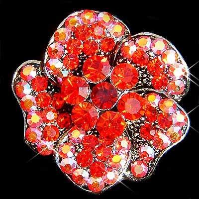 Siam Red Swarovski Crystal Flower Brooch