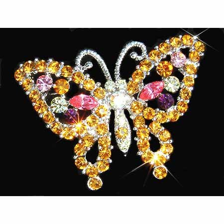 Topaz Gold Butterfly Swarovski Crystal Brooch