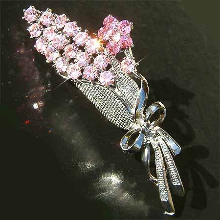 Pink Flower Bouquet Swarovski Crystal Brooch