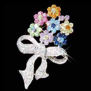 Rainbow Flower Bouquet Swarovski Crystal Brooch