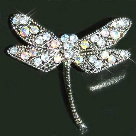 Clear Dragonfly Swarovski Crystal Brooch