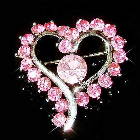 Pink Open Heart Swarovski Crystal Brooch