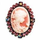 Pink Cameo Fairy Swarovski Crystal Brooch