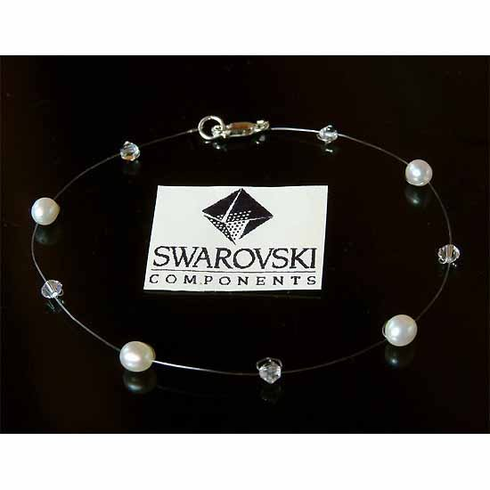Floating Freshwater Pearl Swarovski Crystal Illusion Anklet