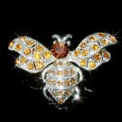 Bumble Honey Bee Swarovski Topaz Gold Crystal Brooch