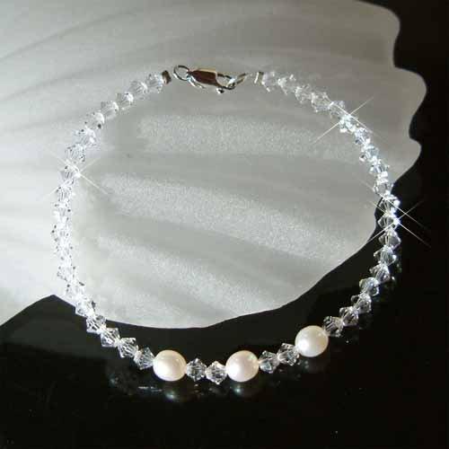 Swarovski Crystal Freshwater Pearl Sterling Silver Bracelet