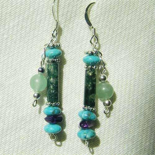 Turquoise Jasper Amethyst Jade Sterling Silver Earrings