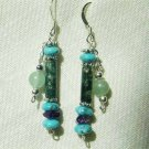 Turquoise Jasper Amethyst Jade Sterling Silver Earrings