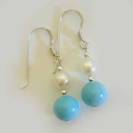Turquoise Freshwater Pearl Sterling Silver Earrings