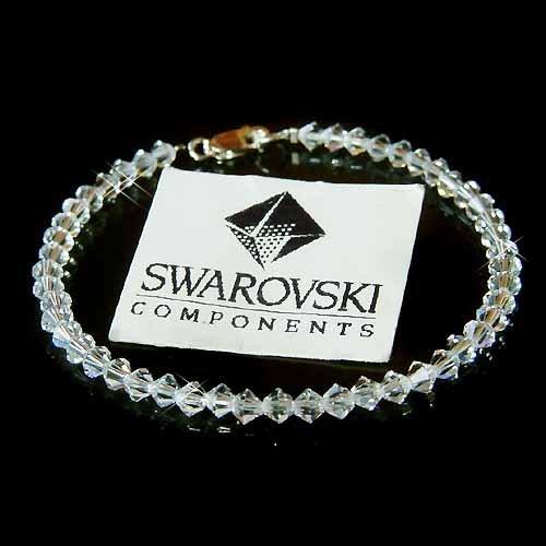 Swarovski Crystal Simple Bridal Sterling Silver Bracelet