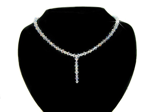 Swarovski Clear Cyrstal Bridal Wedding Sterling Silver Necklace