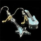 Rock Star Electric Guitar Music Note Swarovski Crystal Earrings