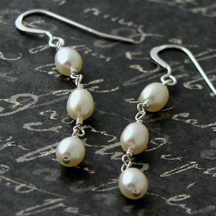Bride Wedding Freshwater Pearl Sterling Silver Earrings