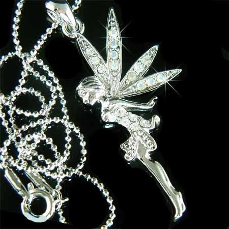 Swarovski Clear Crystal Tinkerbell Fairy Angel Necklace
