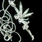 Swarovski Clear Crystal Tinkerbell Fairy Angel Necklace