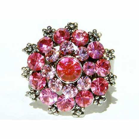 Sexy Pink Swarovski Crystal Party Ring