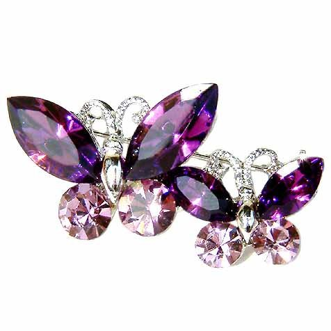 Purple Butterfly Mother & Baby Swarovski Crystal Brooch