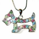 Rainbow Scottish Westie Dog Swarovski Crystal Necklace