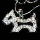Clear Scottish Westie Dog Swarovski Crystal Necklace