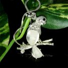 Clear Macaw Cockatiel Parrot Swarovski Crystal Necklace