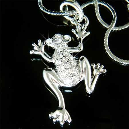 Clear Swarovski Crystal Wildlife Animal Frog Pendant Necklace