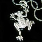 Clear Swarovski Crystal Wildlife Animal Frog Pendant Necklace