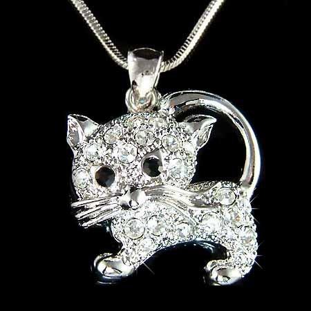 Animal Lover Swarovski Crystal Clear Cat Kitten Pendant Necklace