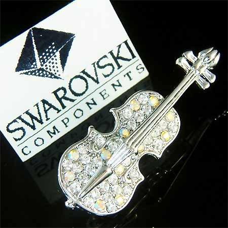 Swarovski Crystal Musical Instrument Cello Violin Brooch