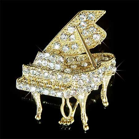 Gold Swarovski Crystal Grand Piano Brooch