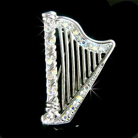 Swarovski Crystal Traditional Irish 8 Strings Harp Brooch