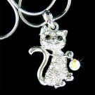 Animal Lover Cat With Collar Swarovski Crystal Pendant Necklace