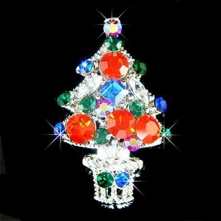 Christmas Tree Star Ornaments Holiday Swarovski Crystal Brooch