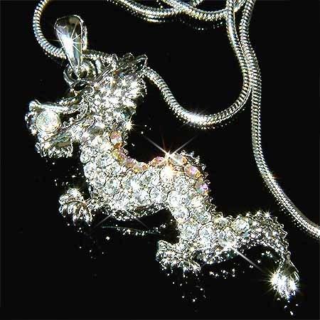 Clear Dragon Swarovski Crystal Necklace