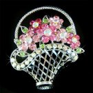Rose Flower Basket Swarovski Crystal Brooch
