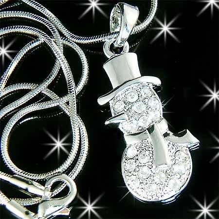 Christmas Snowman Swarovski Crystal Necklace