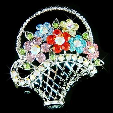 Rainbow Flower Basket Swarovski Crystal Brooch