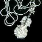 Clear Violin Music Musical Instrument Swarovski Crystal Necklace