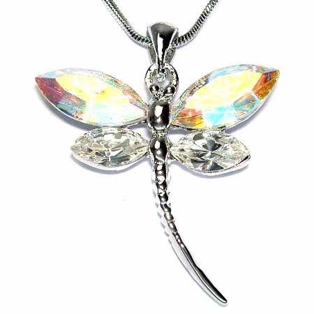 Clear AB Bridal Dragonfly Swarovski Crystal Pendant Necklace