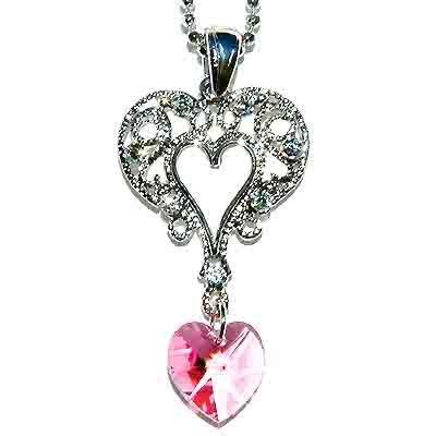 Filigree Heart Swarovski Crystal Pink Heart Pendant Necklace