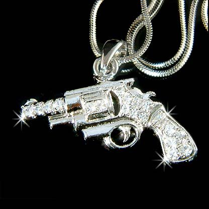 HIP HOP! Hand Gun / Pistol Swarovski Crystal Necklace