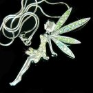 HUGE X'mas Green Tinkerbell Fairy Swarovski Crystal Necklace