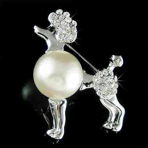 Classy French Poodle Dog Swarovski Crystal & Pearl Brooch