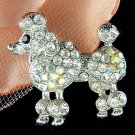 Cute White French Poodle Dog Swarovski Crystal Animal Brooch
