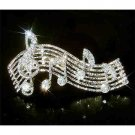 Treble G Clef and Music Note Swarovski Crystal Brooch