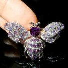 Bumble Honey Bee Swarovski Purple Crystal Brooch