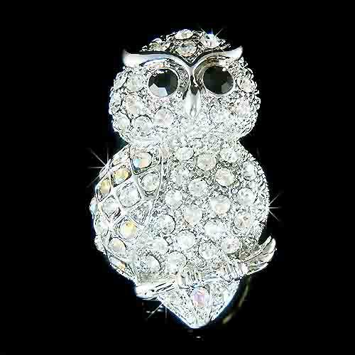 Owl on the Tree Branch Swarovski Crystal Brooch