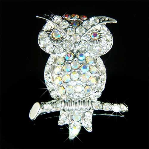 Elegant Owl on the Tree Branch Swarovski Crystal Brooch