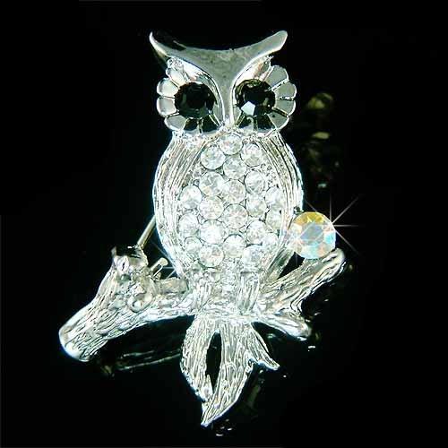 Classy Owl on the Tree Branch Swarovski Crystal Brooch
