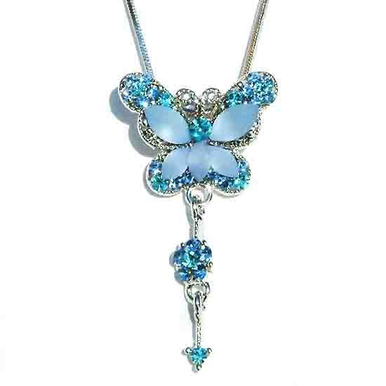 Aqua Butterfly Dangling Flower Swarovski Crystal Necklace
