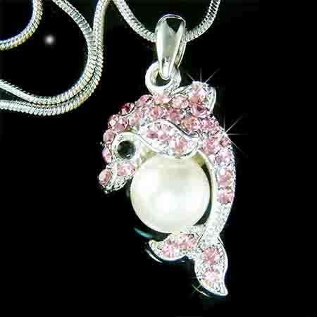Pink Dolphin Pearl Ball Swarovski Crystal Necklace